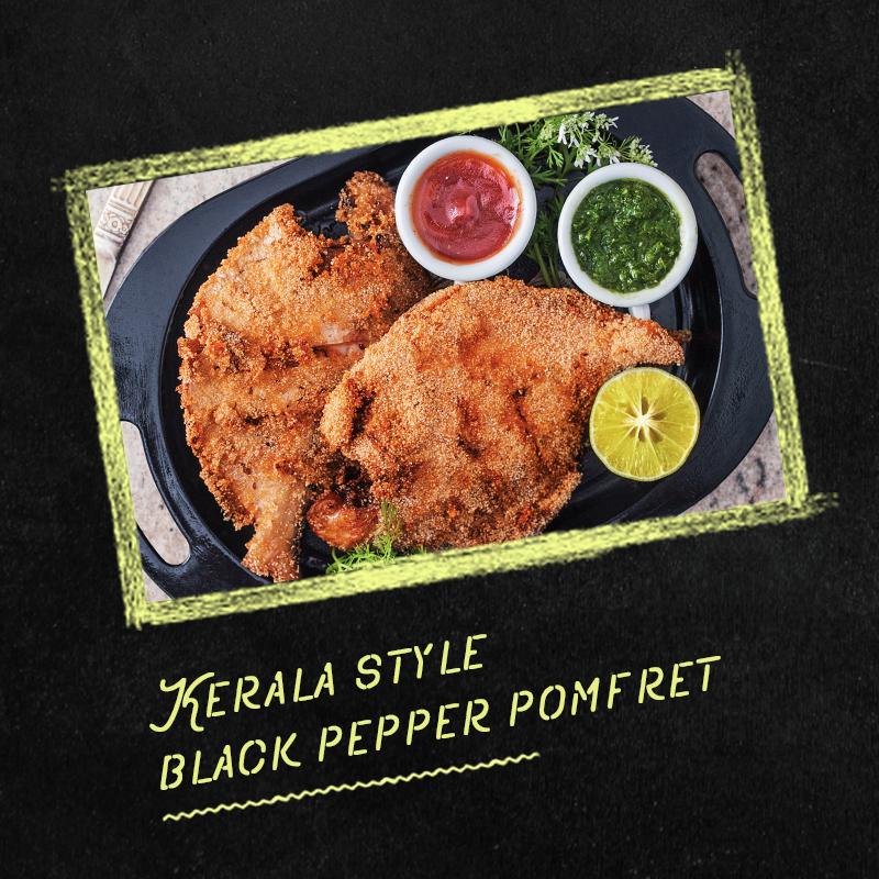 kerala style black pepper pomfret