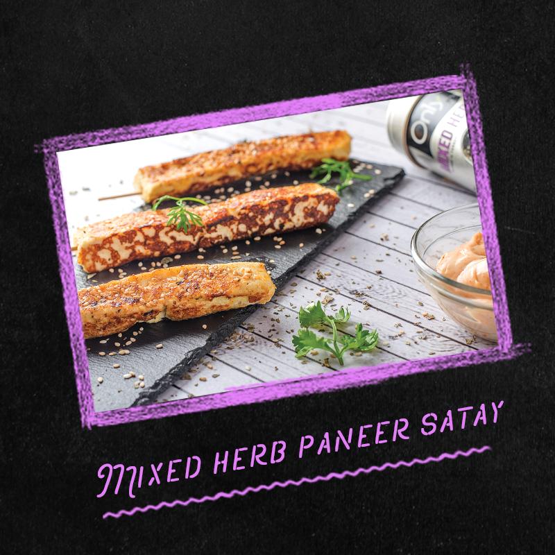 mixed herb paneer satay
